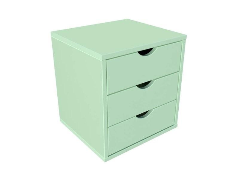 Bloc 3 tiroirs bois massif vert pastel BLOC3T-VP