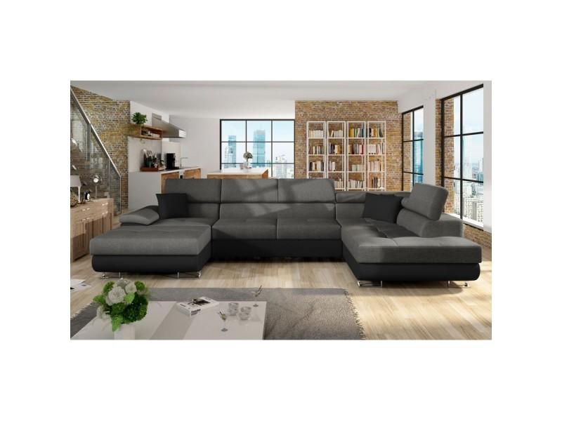 Canapé d'angle convertible cotore en u gris et noir - angle droit