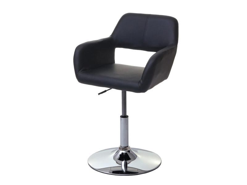 Chaise de salle à manger hwc-a50 iii, style rétro années 50, similicuir ~ noir, pied en métal aspect chromé