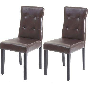 Lot de 2 chaises en simili cuir marron pieds en bois foncé