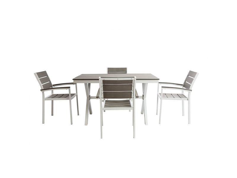 Salon de jardin avec table et 4 chaises blanc et gris viaggio ...