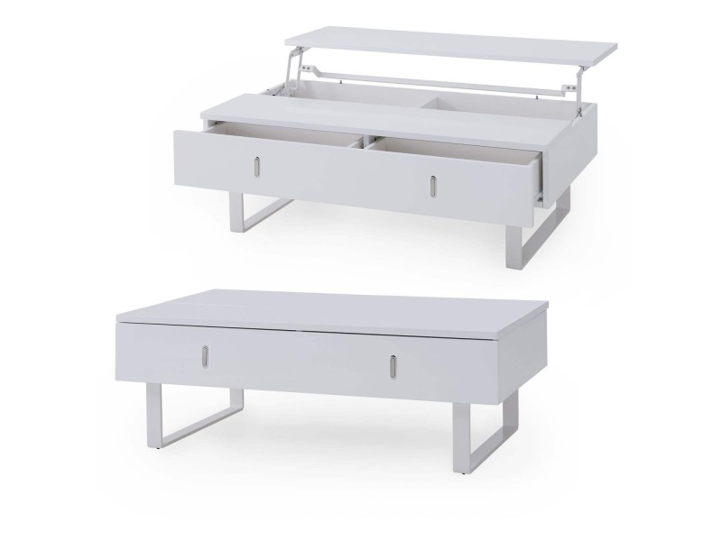 Quilda - table basse laquée blanche avec rangement