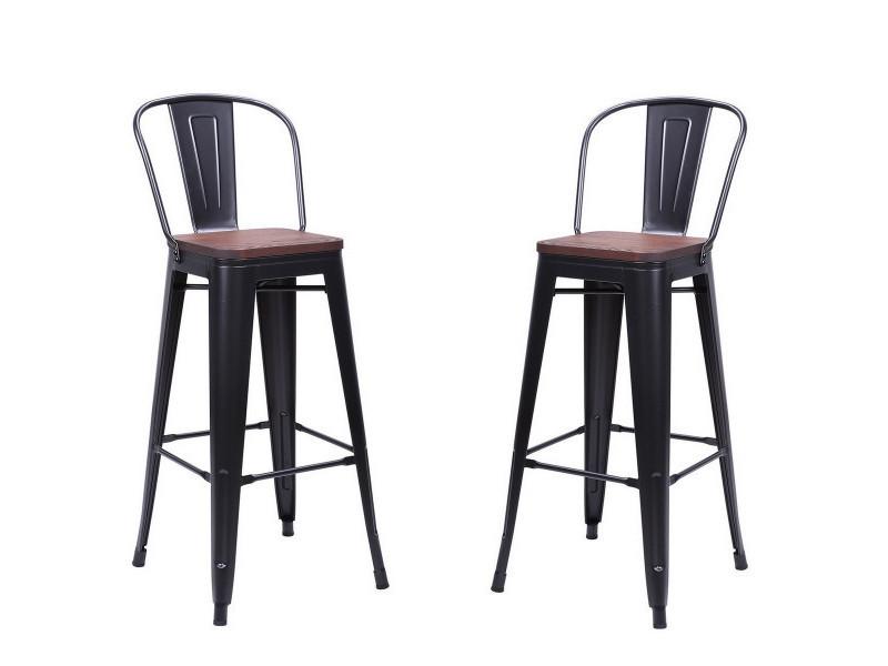 Nevada - 2 chaises de bar en acier gris et bois foncé