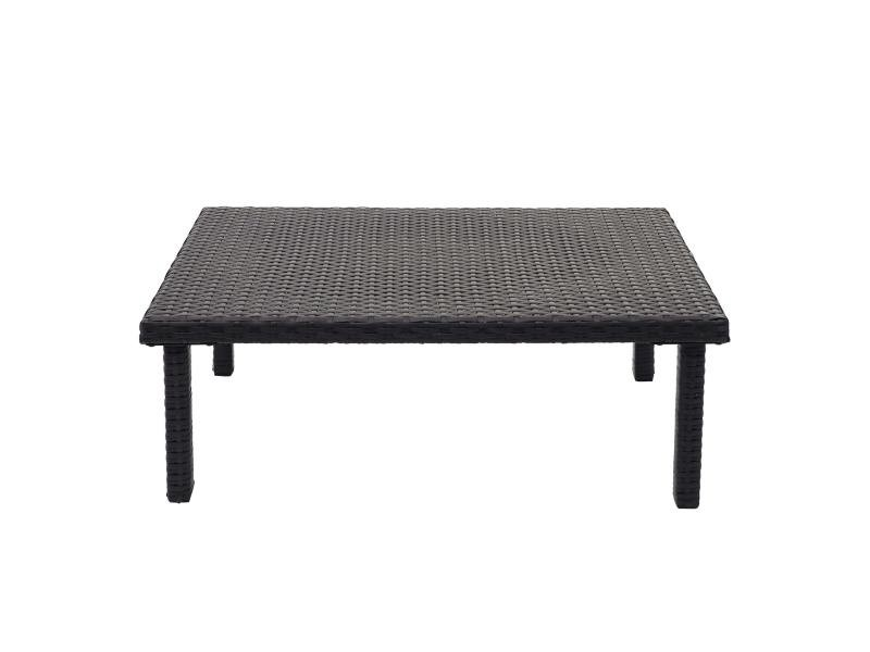 Table d'appoint en polyrotin hwc-g16, table de jardin/balcon, gastronomie 80x50cm ~ noir