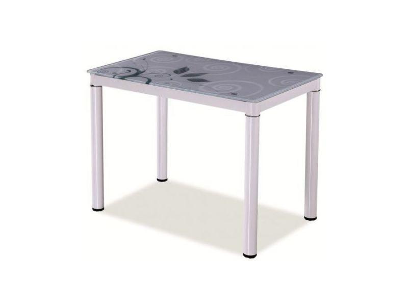 Damatr - table moderne plateau à motifs - 80x60x75 cm - plateau en verre trempé - cadre en métal - table salle à manger - blanc