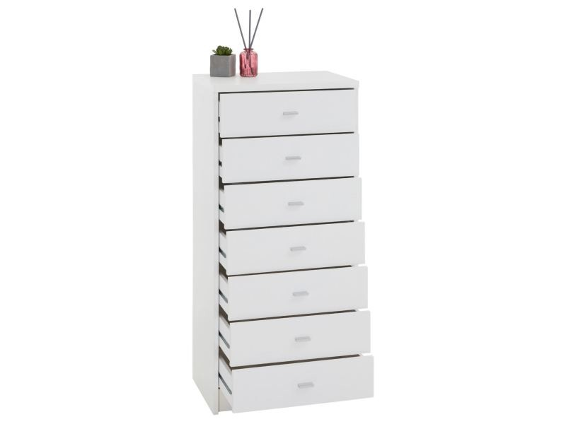 commode chiffonnier tiroirs rangement mdf m lamin blanc. Black Bedroom Furniture Sets. Home Design Ideas