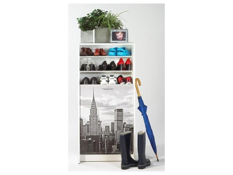 Meuble à chaussures blanc 7 tablettes - coloris: new york 500