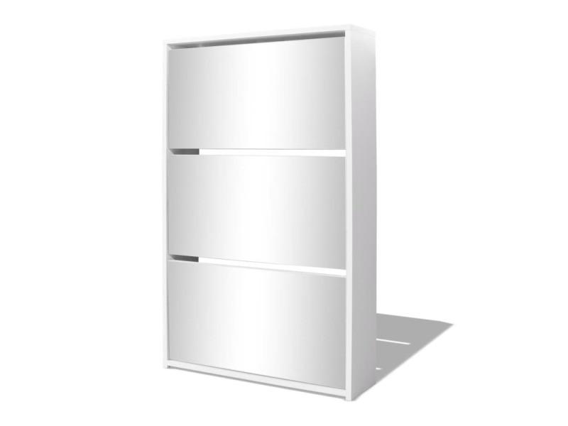 Vidaxl meuble à chaussures 3 étagères 63 x 17 x 102,5 cm miroir blanc 243048