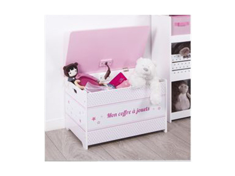 coffre jouets rose en bois vente de atmosphera for kids conforama. Black Bedroom Furniture Sets. Home Design Ideas