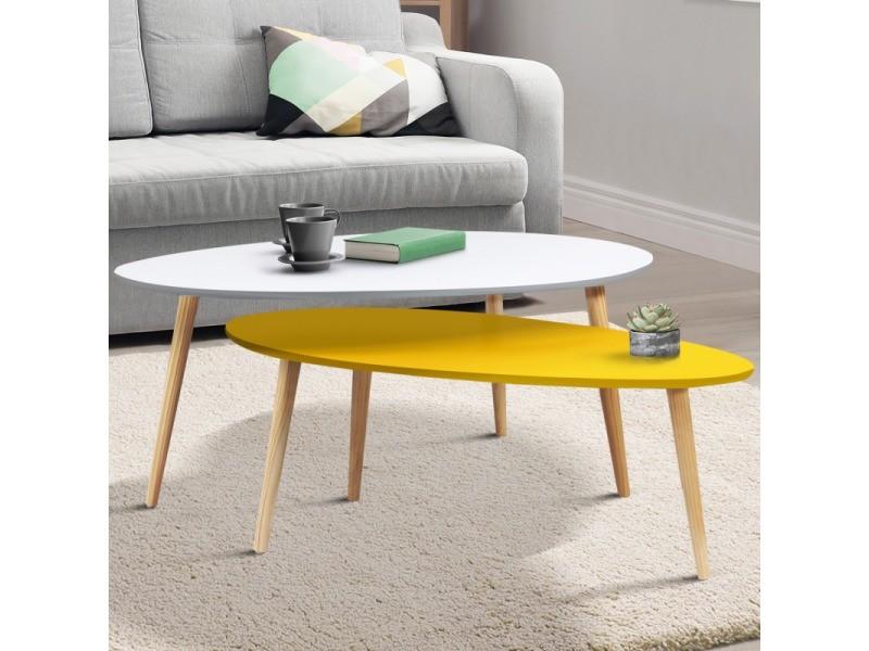 Lot de 2 tables basses gigognes laquées jaune blanc scandinave ...