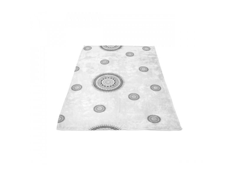 Couverture polaire mandala grise 180x220