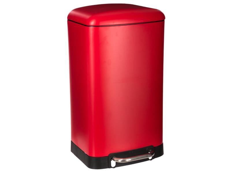 Five - poubelle 30 l en métal rouge ouverture à pédale