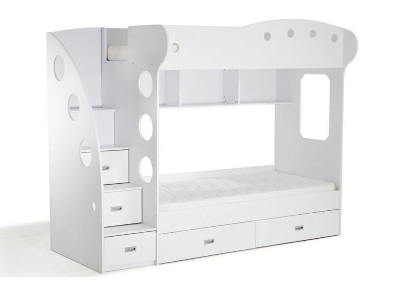 lit mezzanine superpos ma a blanc 20100869818 conforama. Black Bedroom Furniture Sets. Home Design Ideas