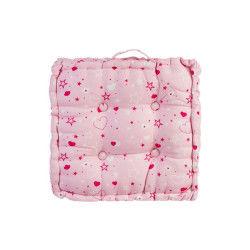 Coussin de sol rose 40 x 40 cm imprimé étoiles