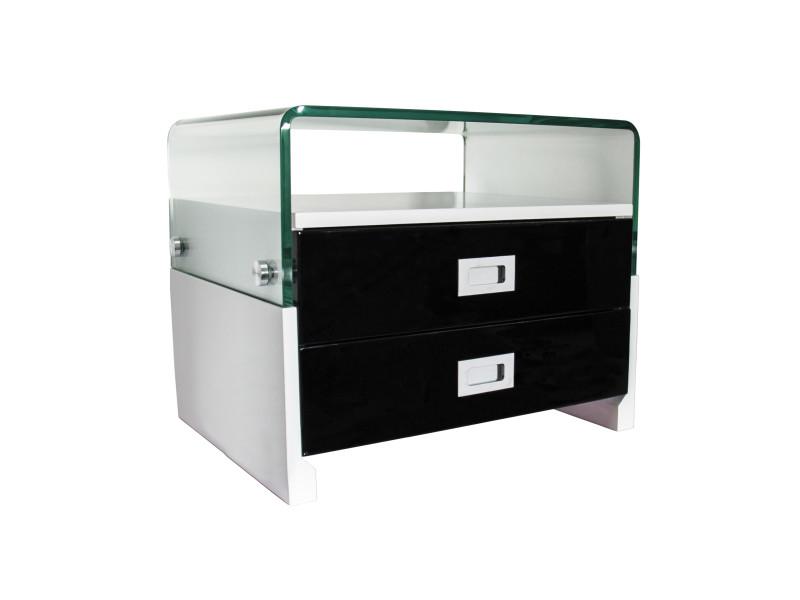 table de chevet design laqu avec 2 tiroirs noir blanc s15 vente de chevet conforama. Black Bedroom Furniture Sets. Home Design Ideas