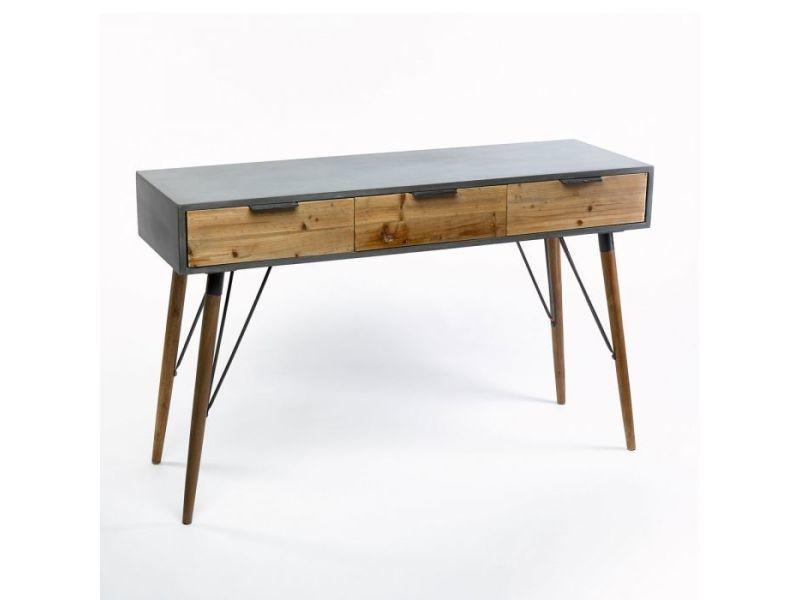 Console industrielle bois 122x40 3 tiroirs zendart design