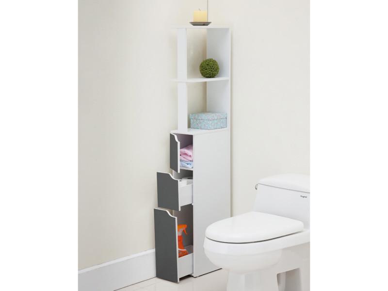 colonne de salle de bain lagune blanche mate fronts gris. Black Bedroom Furniture Sets. Home Design Ideas