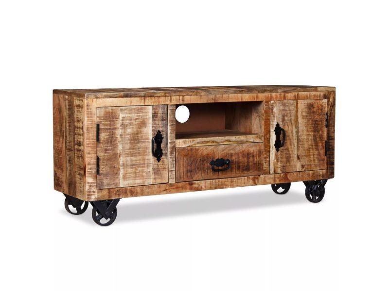 Meuble télé buffet tv télévision design pratique bois de manguier brut 120 cm helloshop26 2502131