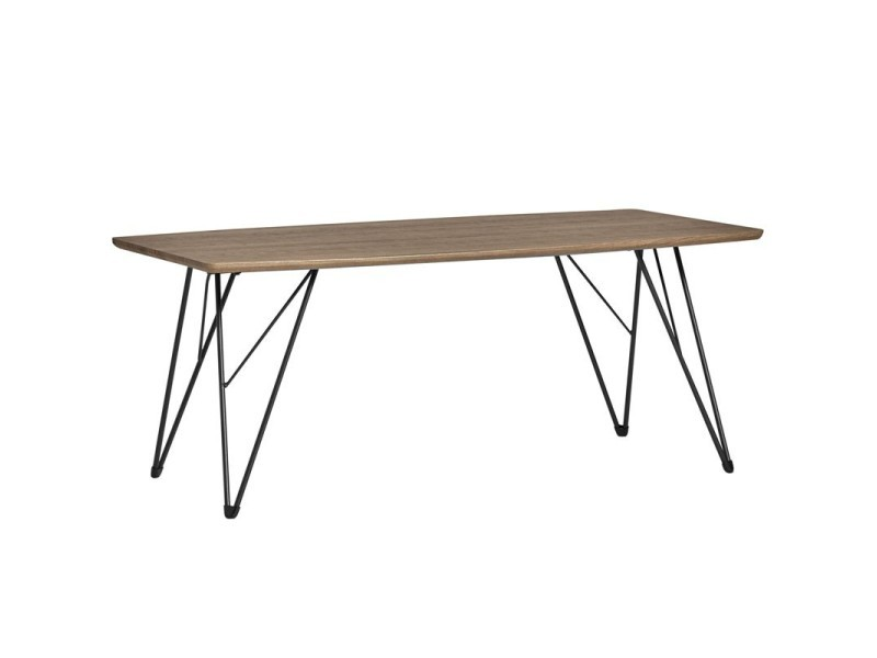 Table basse plateau chêne gris et pieds métal - sarabi - l 110 x l 60 x h 45 - neuf