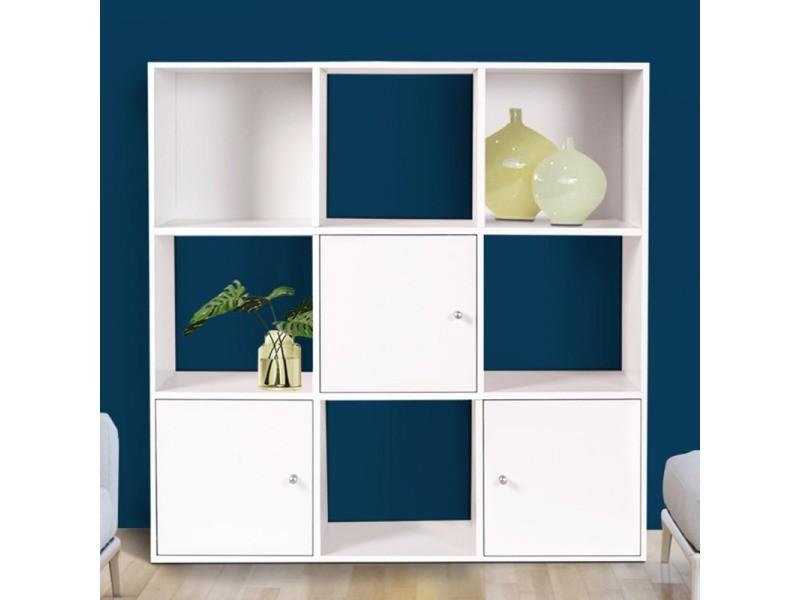 Meuble de rangement cube 9 cases bois blanc avec 3 portes - Vente de ID MARKET - Conforama