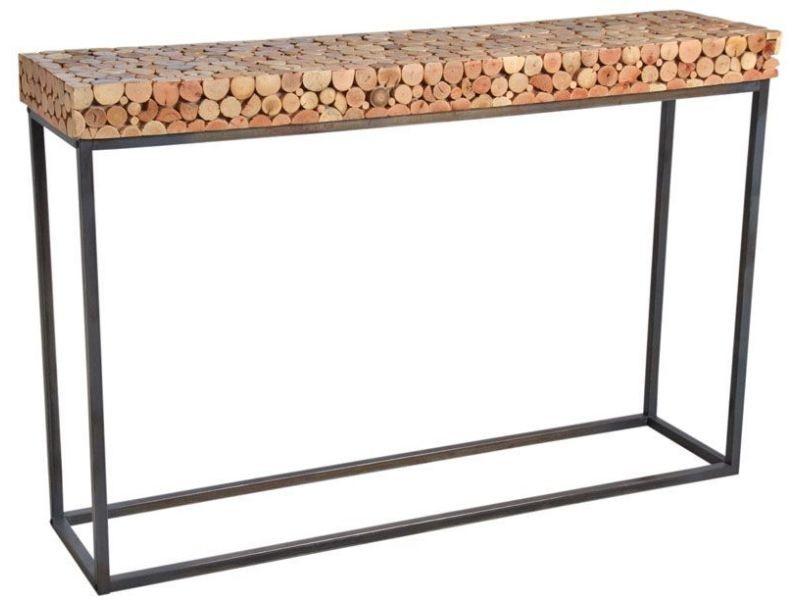 Console en bois et pied métal