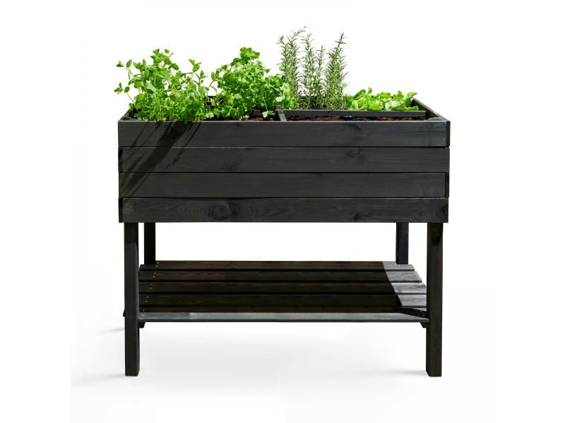 Potager rectangulaire en bois naturel - 110x50x80 cm - topi bois gris