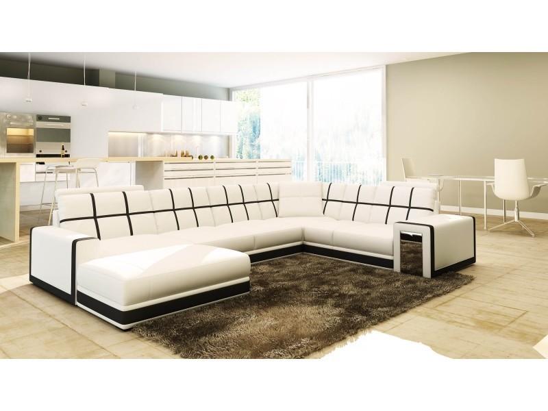 Canapé d'angle panoramique cuir blanc et noir design electra-