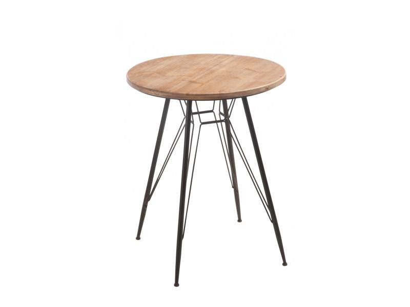 Table ronde bois et métal bistro 80356