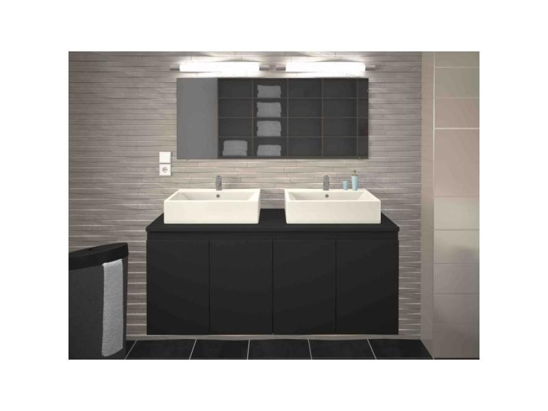 Meuble de salle de bain double vasque 120 cm gris mat caroline - l ...