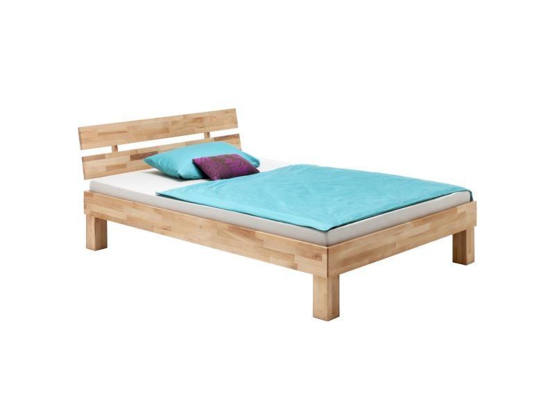 lit simple pour enfant ou adulte lara couchage 90x200 cm cadre de lit en h tre massif naturel. Black Bedroom Furniture Sets. Home Design Ideas