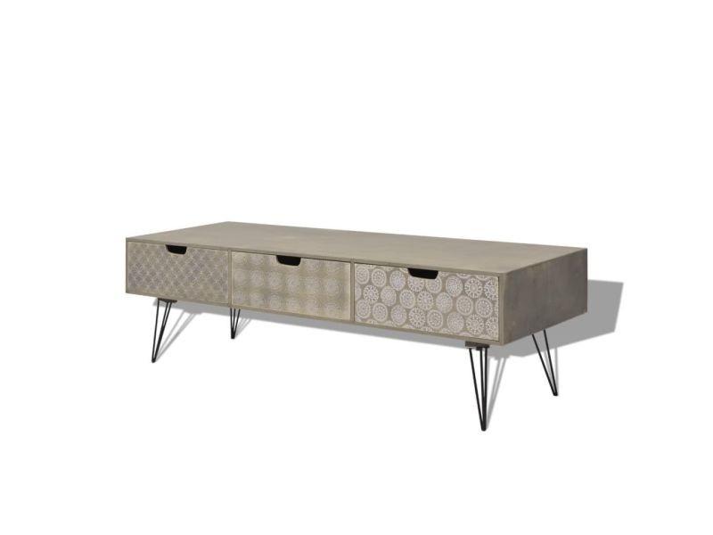 Meuble télé buffet tv télévision design pratique avec 3 tiroirs 120 cm gris helloshop26 2502098