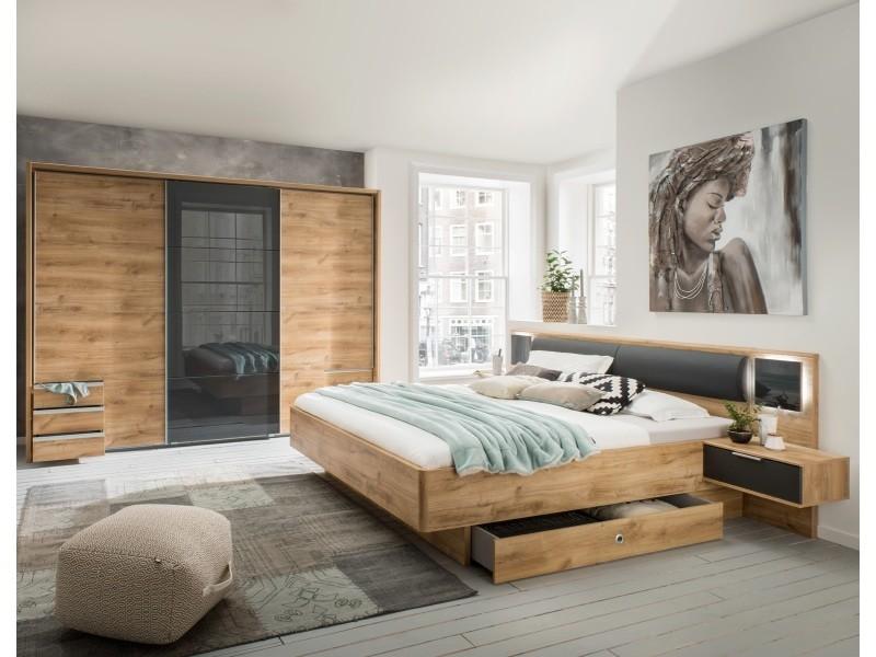 Ensemble chambre adulte imitation chêne poutre - 10 x 10 cm -pegane-