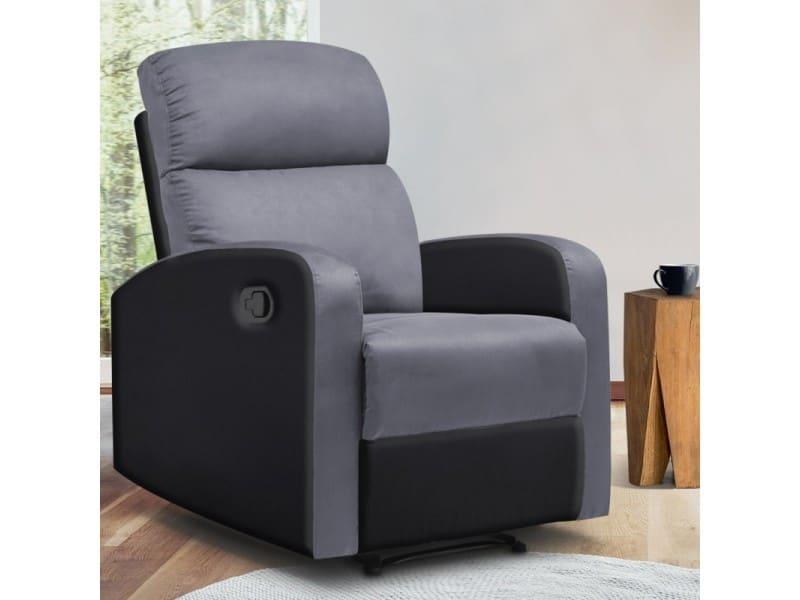 Fauteuil relaxation inclinable noir et gris anthracite