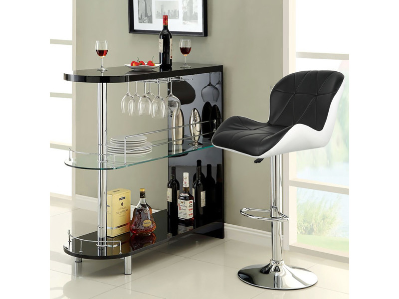 Hombuy®4 x tabouret de bar maison petit déjeuner table pivotante réglable en hauteur noir-blanc