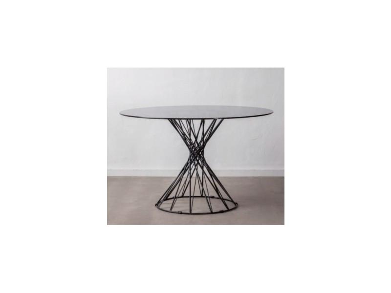 Table à manger design ronde verre trempé/métal noir crystal