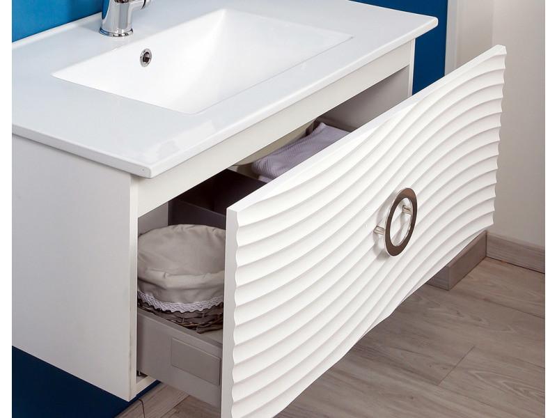 Meuble Suspendu 80 Cm Boreal Blanc Vasque Miroir Vente De