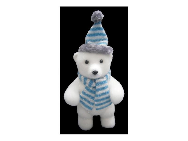 Figurine en forme d'ours avec écharpe - blanc