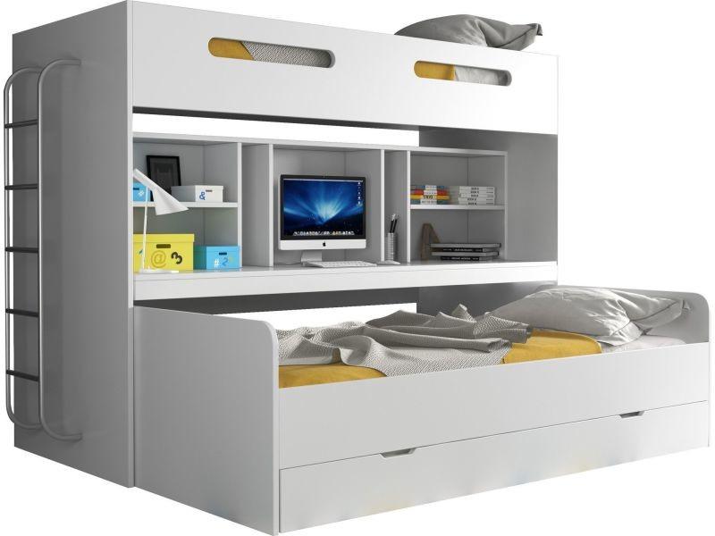 lit combin superpos avec 3 couchages 90x200 avec espace. Black Bedroom Furniture Sets. Home Design Ideas