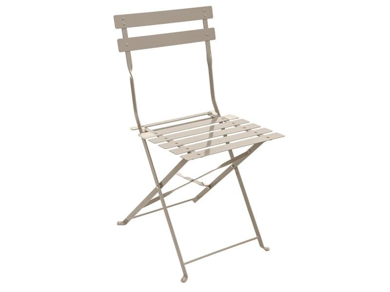 Lot de 2 chaises de jardin métal pliante camargue taupe mat - hesperide