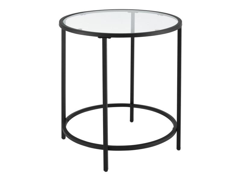 Table d'appoint pour salon table ronde design bouts de canapé de salon plateau en verre pieds en acier 50 x 55 cm noir [en.casa]
