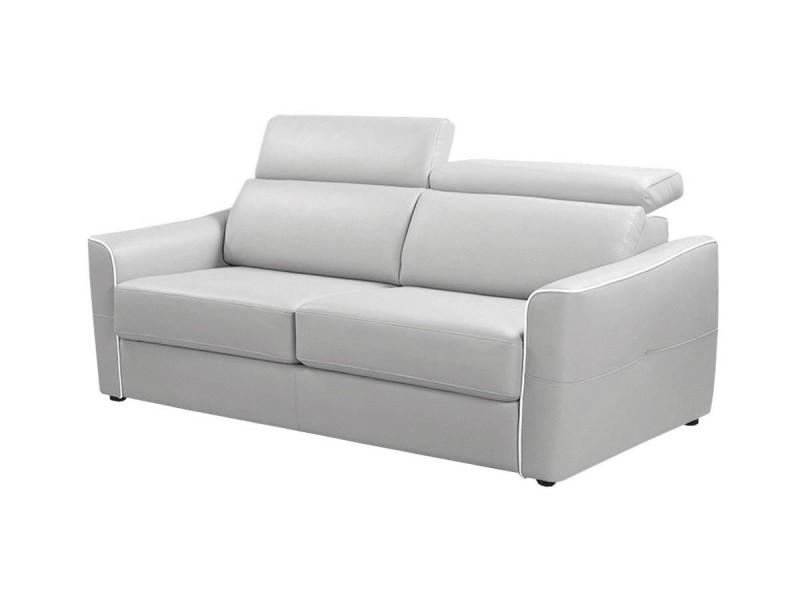 Canapé droit 3 places convertible livio - gris clair - {habillage_canape_cuir} - gris perle et blanc