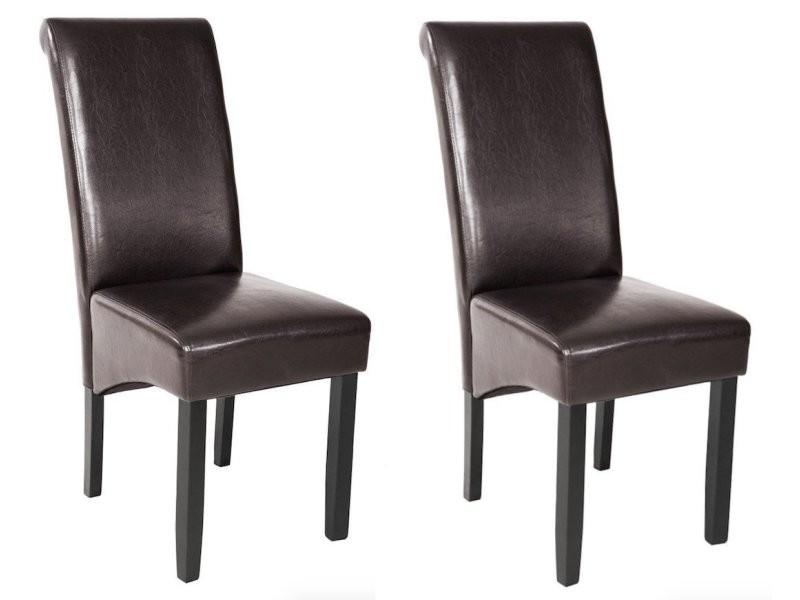Lot de 2 chaises de salle manger salon cuisine marron for Lot de 6 chaises conforama