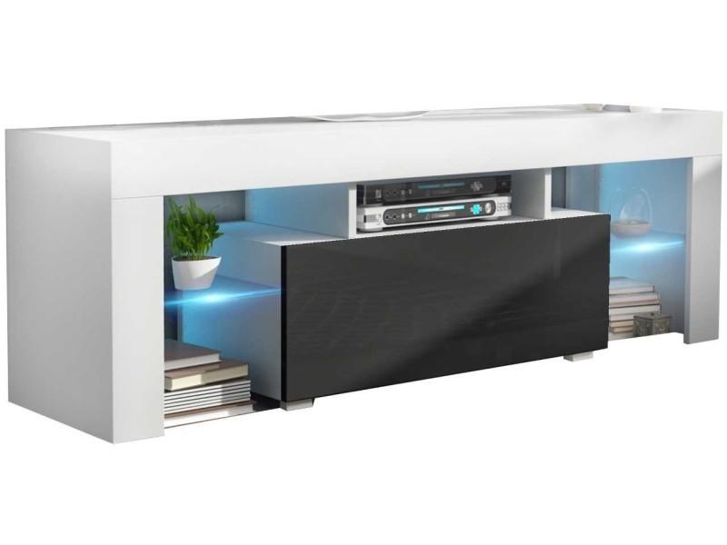 Meuble tv 130 cm blanc et noir led rgb