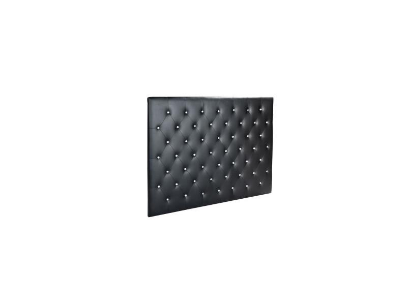41c74b68a976df Sogno tete de lit capitonnee style contemporain - simili noir - boutons  cristal - l 160 cm - Vente de Tête de lit - Conforama