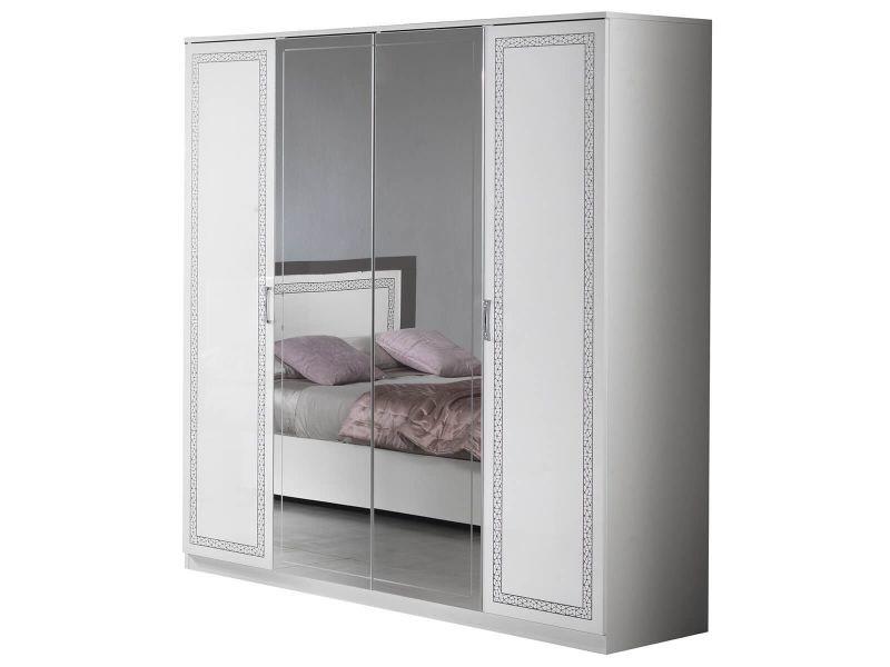 Fadily - armoire 4 portes laquée blanc avec sérigraphies