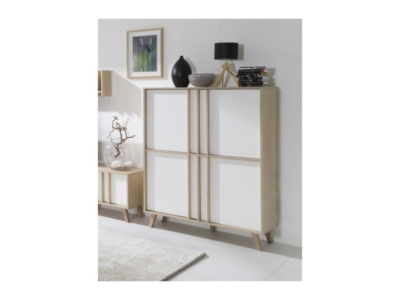 vitrine pleine biblioth que malmo grand mod le led meuble type scandinave blanc sonoma. Black Bedroom Furniture Sets. Home Design Ideas