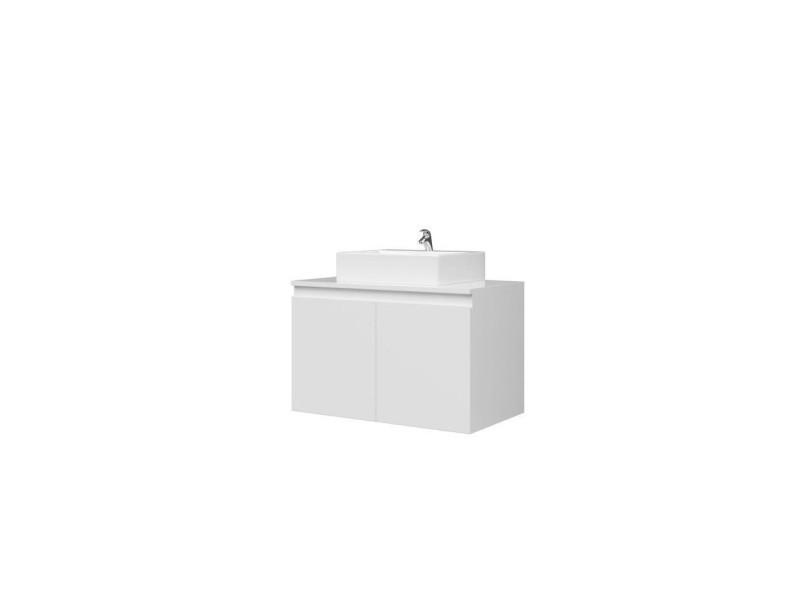 Meuble vasque de salle de bain 2 portes - blanc laqué - l 80 x p 46 x h 50 cm - cina 202D081060056