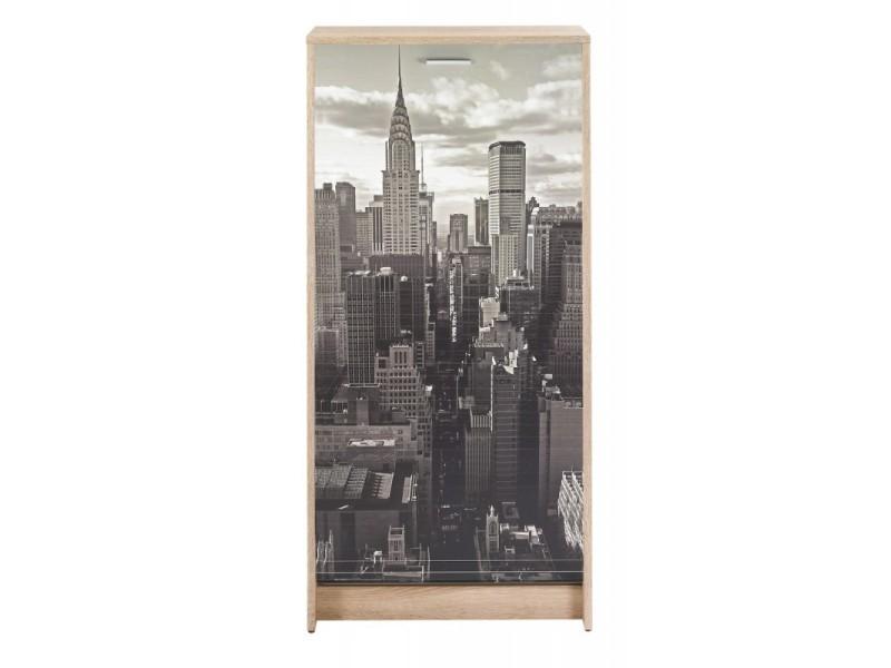 Meuble à chaussures chêne 7 tablettes - coloris: new york 500