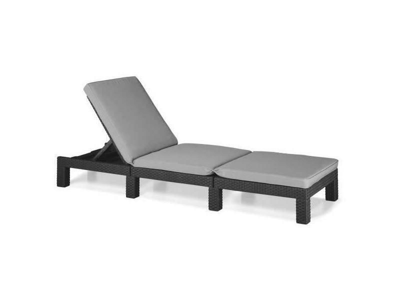 allibert chaise longue daytona graphite 213720 405982 vente de allibert conforama. Black Bedroom Furniture Sets. Home Design Ideas