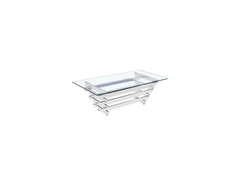 Table basse design chromée verre transparent anvers